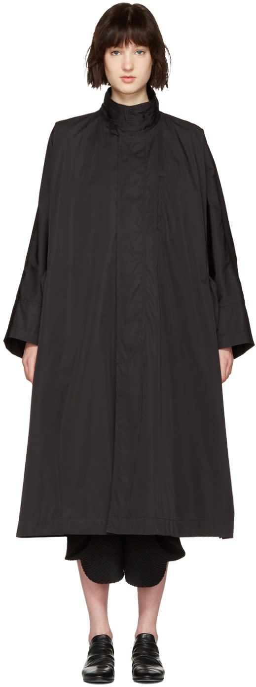 Issey Miyake Black Oversized Trench Coat