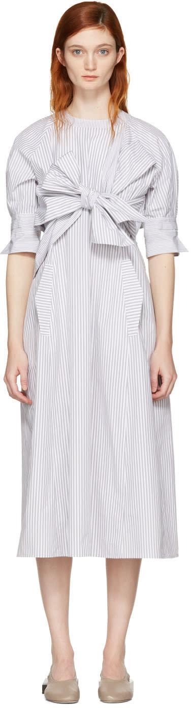 Cyclas Grey Striped Front Bow Dress