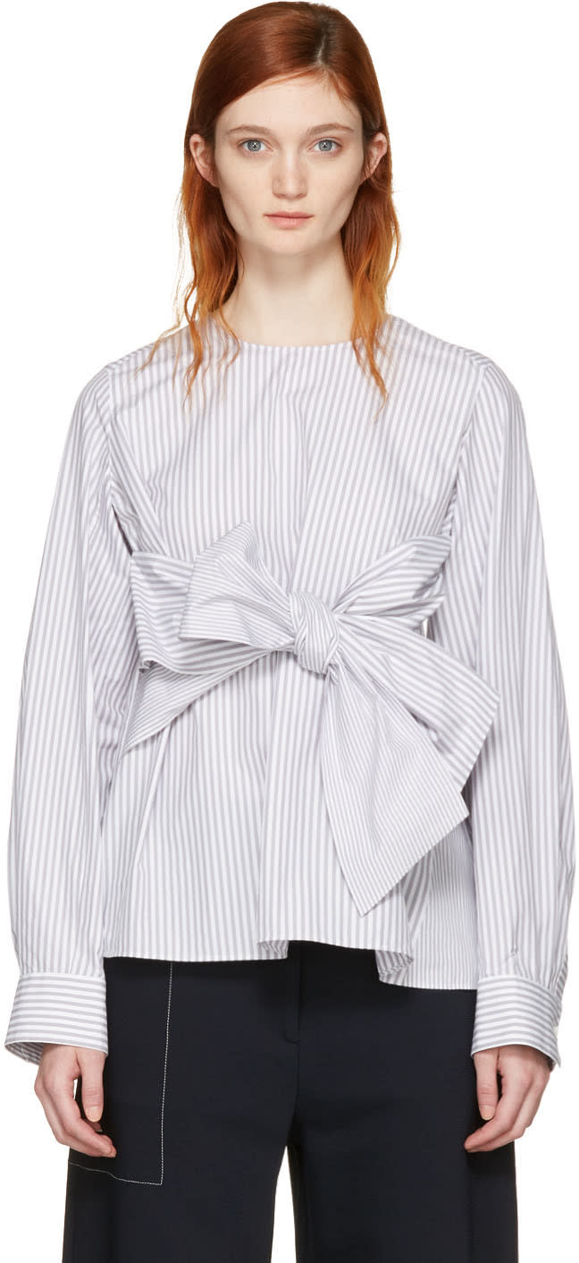 Image of Cyclas Grey Striped Front Bow Blouse