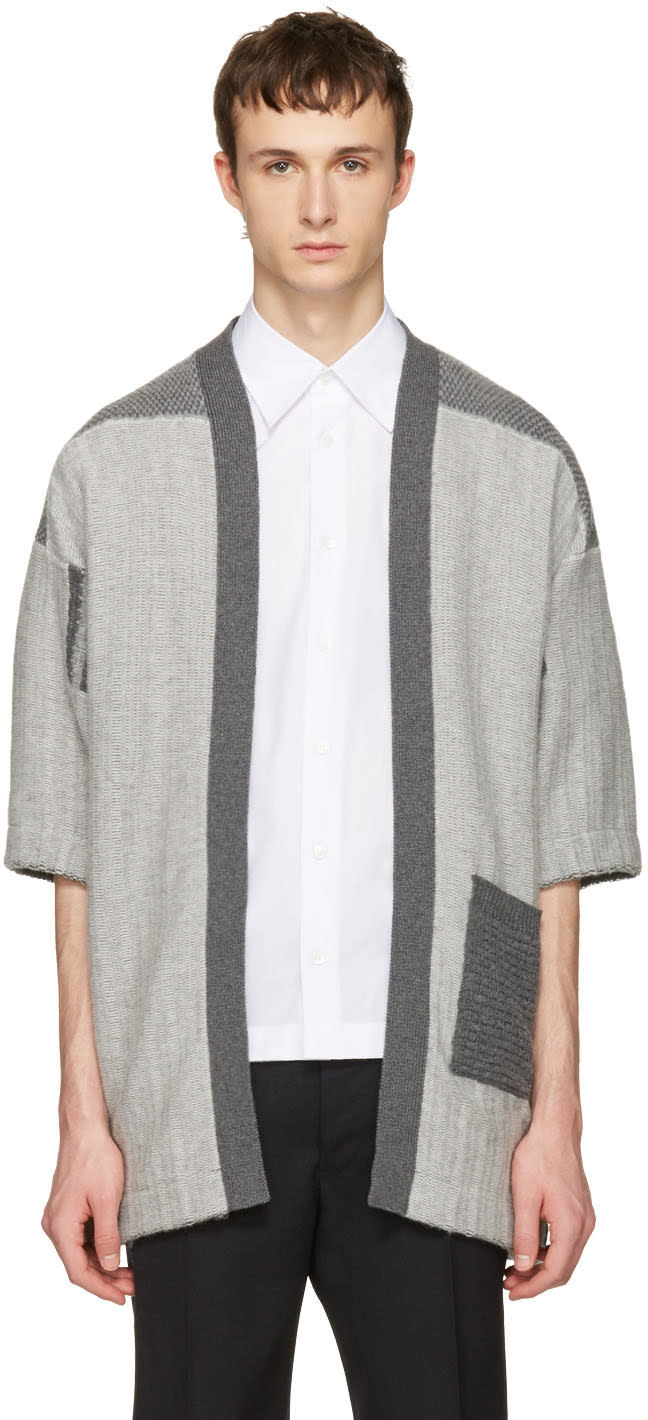 Image of Curieux Grey Patchwork Noragi Cardigan