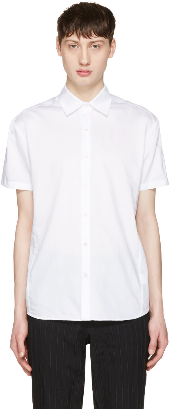 Curieux White Pleated Back Shirt