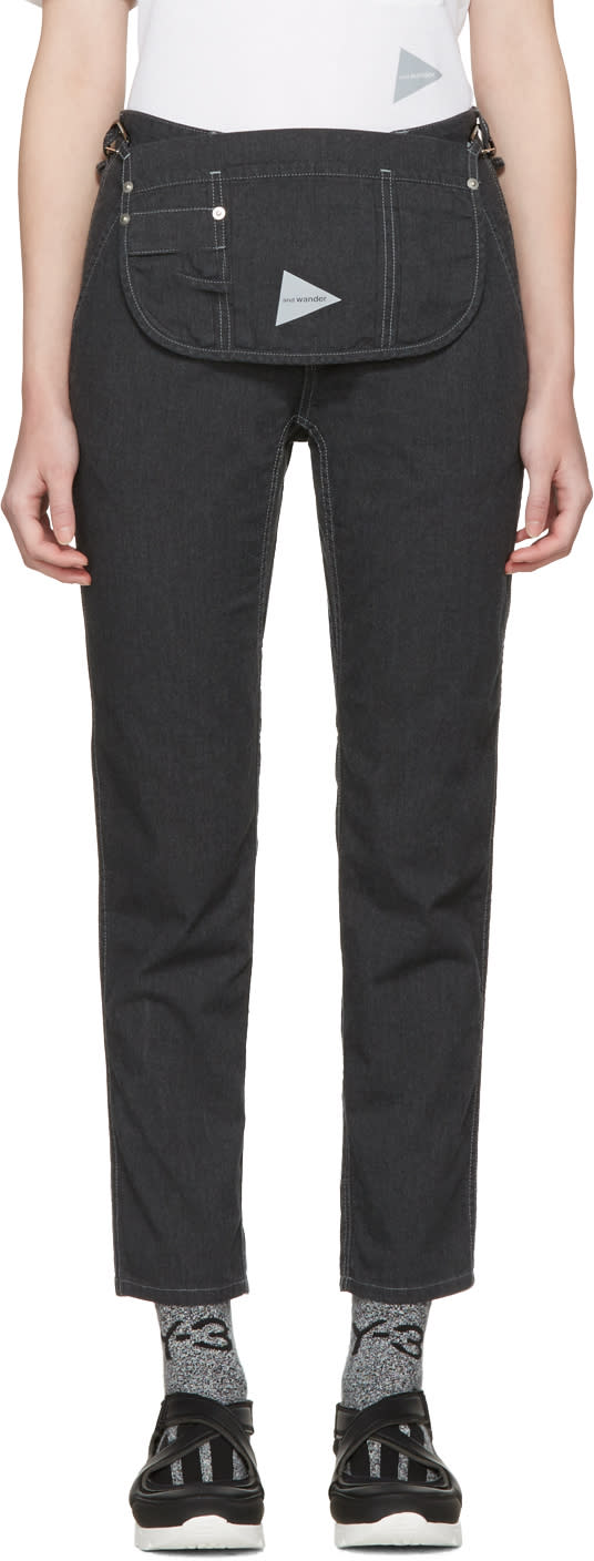 Image of And Wander Black Pocket Trousers