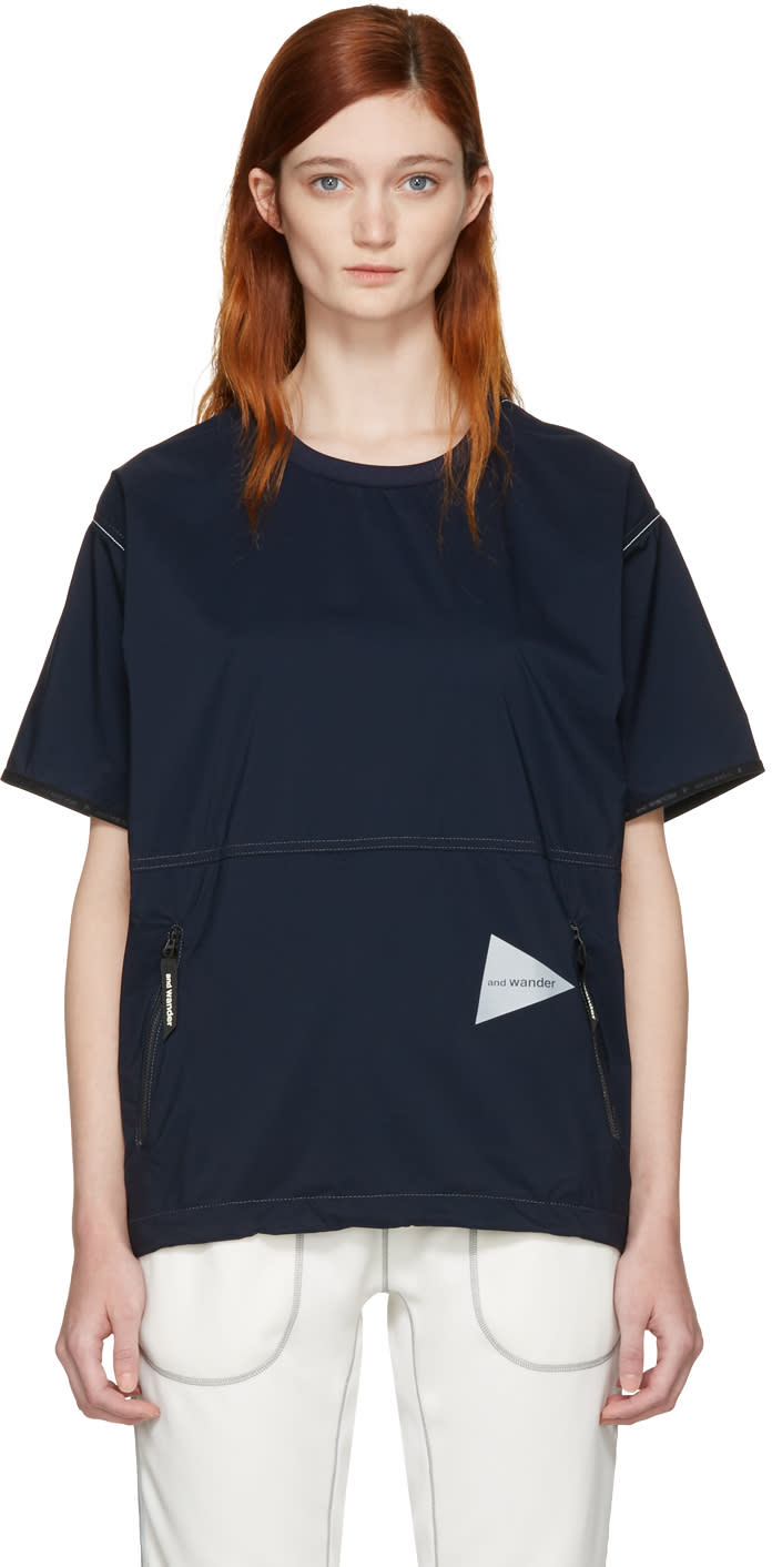 And Wander Navy Pertex Wind T-shirt