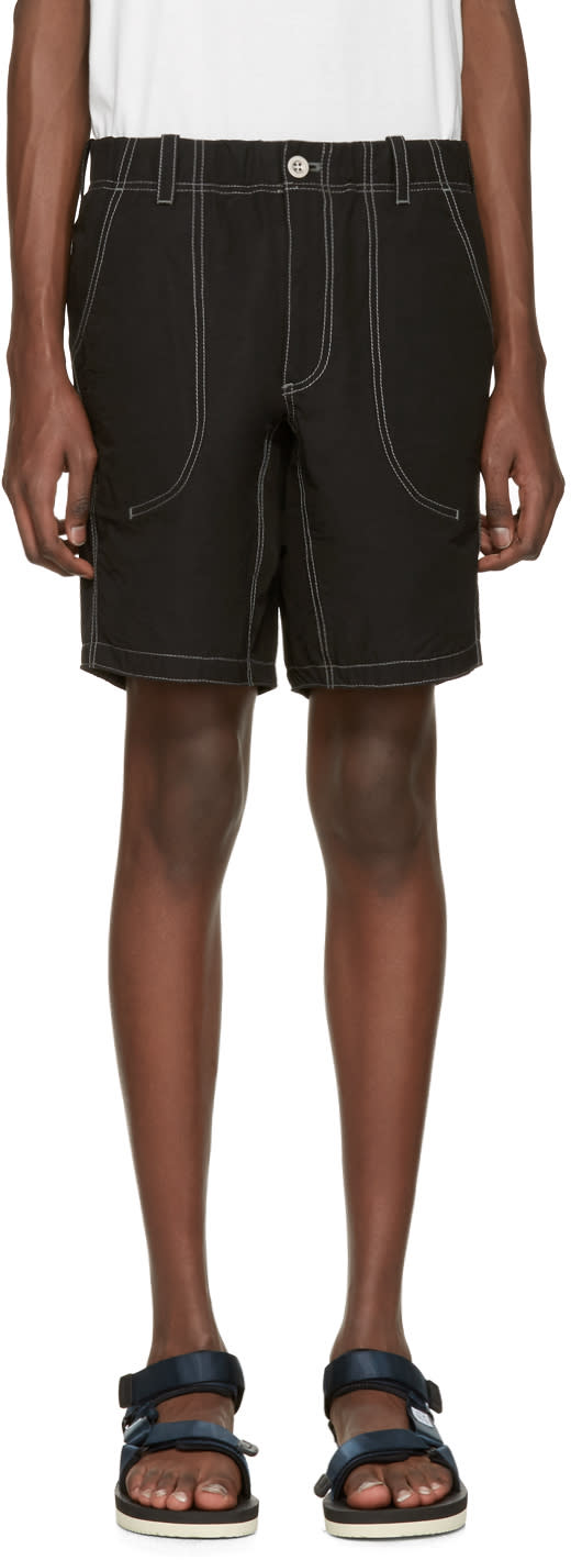 And Wander Black Contrast Stitch Shorts