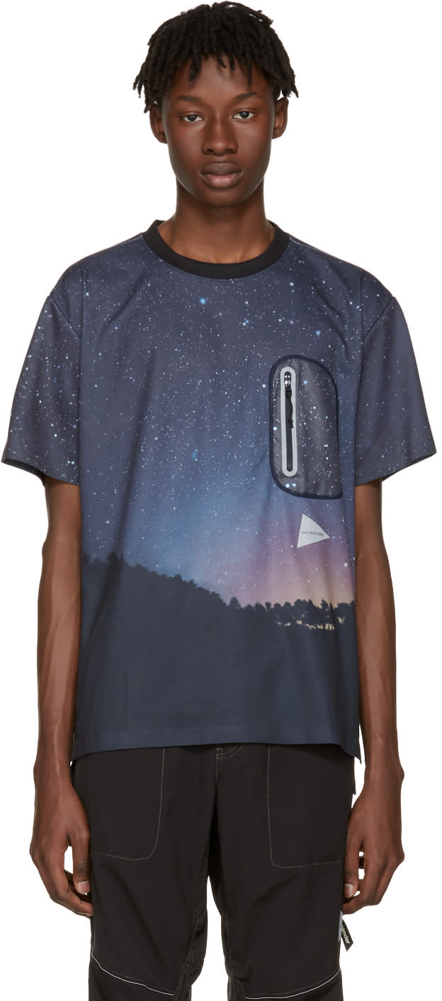 And Wander Navy Starlit Sky Seamless T-shirt