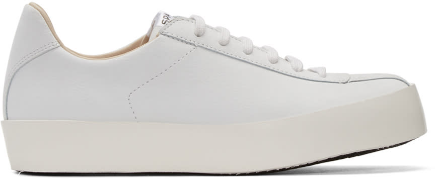 Spalwart White Leather Court Sneakers