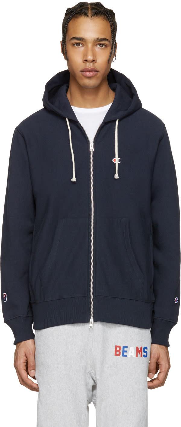 Champion X Beams Navy Logo Zip-up Hoodie