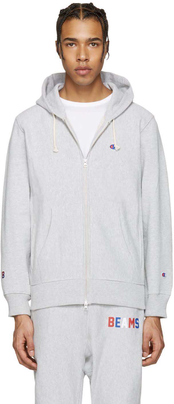 Champion X Beams Grey Logo Zip-up Hoodie