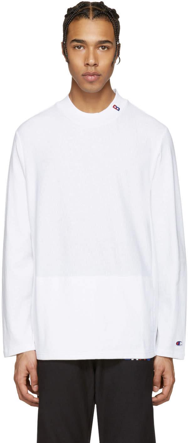Champion X Beams White Mockneck Logo Pullover