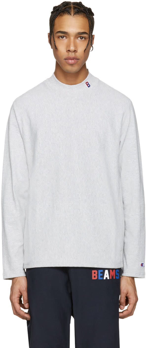 Champion X Beams Grey Mockneck Logo Pullover