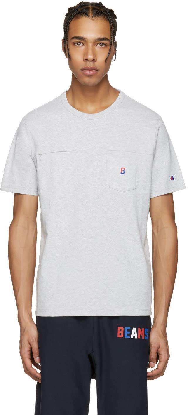 Champion X Beams Grey Two Pocket Logo T-shirt