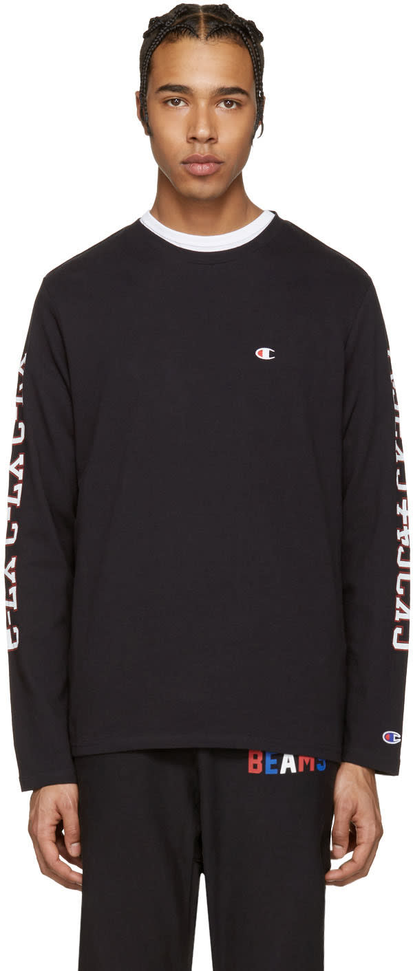 Image of Champion X Beams Black Printed Sleeve Logo Pullover