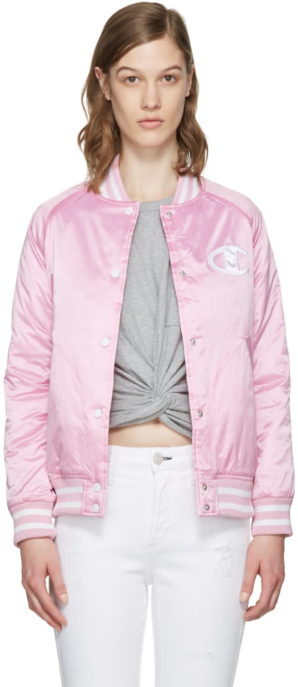 Champion Reverse Weave Pink Logo Bomber Jacket