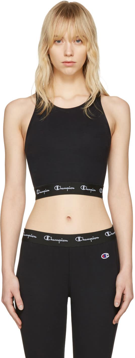 Image of Champion Reverse Weave Black Logo Patch Tank Top