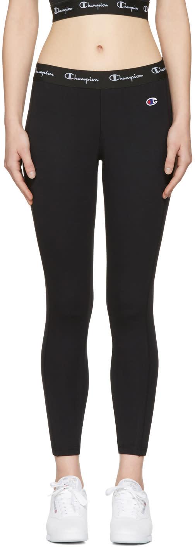 Champion Reverse Weave Black Logo Patch Leggings