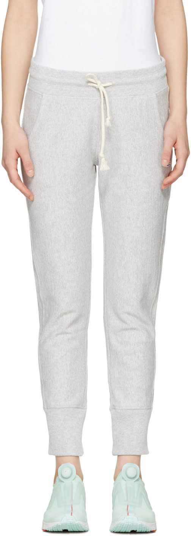 Champion Reverse Weave Grey Logo Patch Lounge Pants