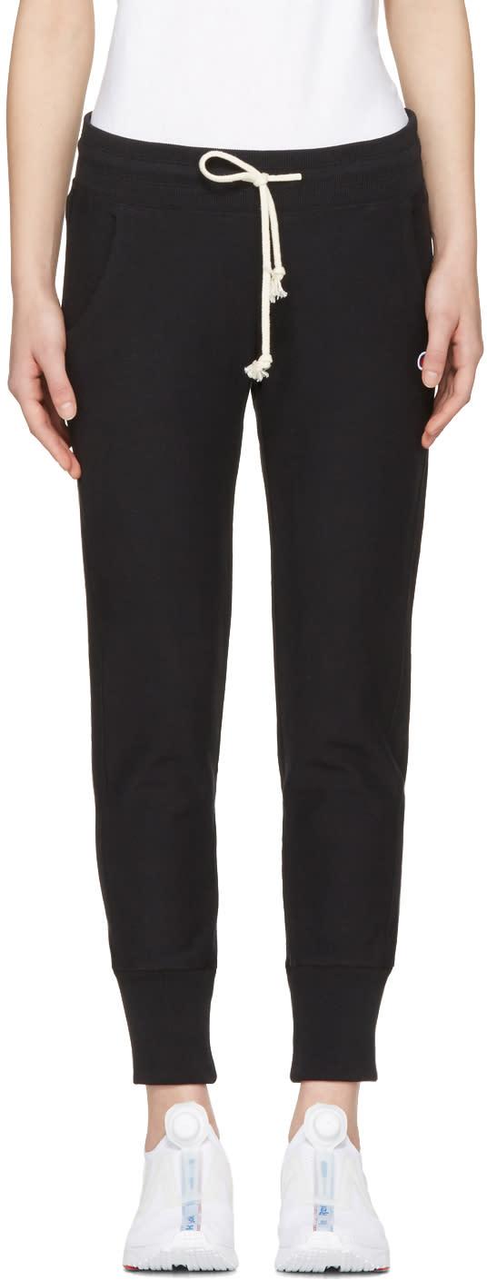 Champion Reverse Weave Black Logo Patch Lounge Pants