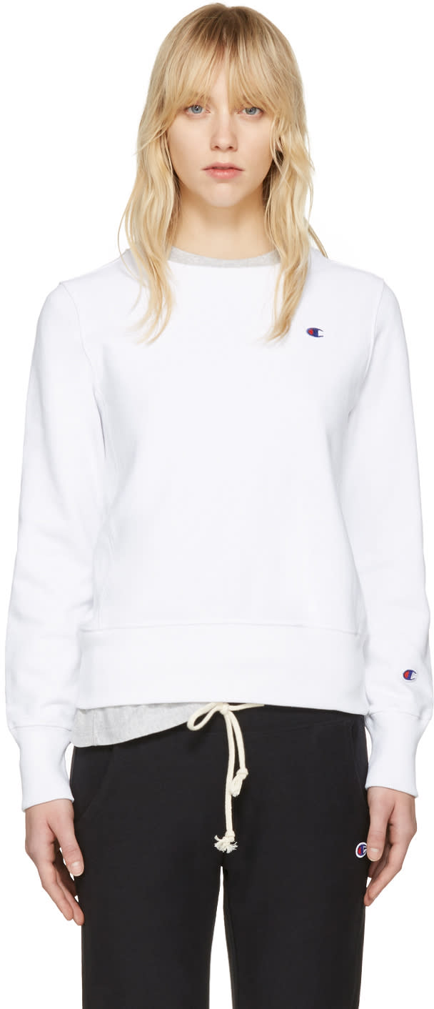 Champion Reverse Weave White Logo Patch Pullover