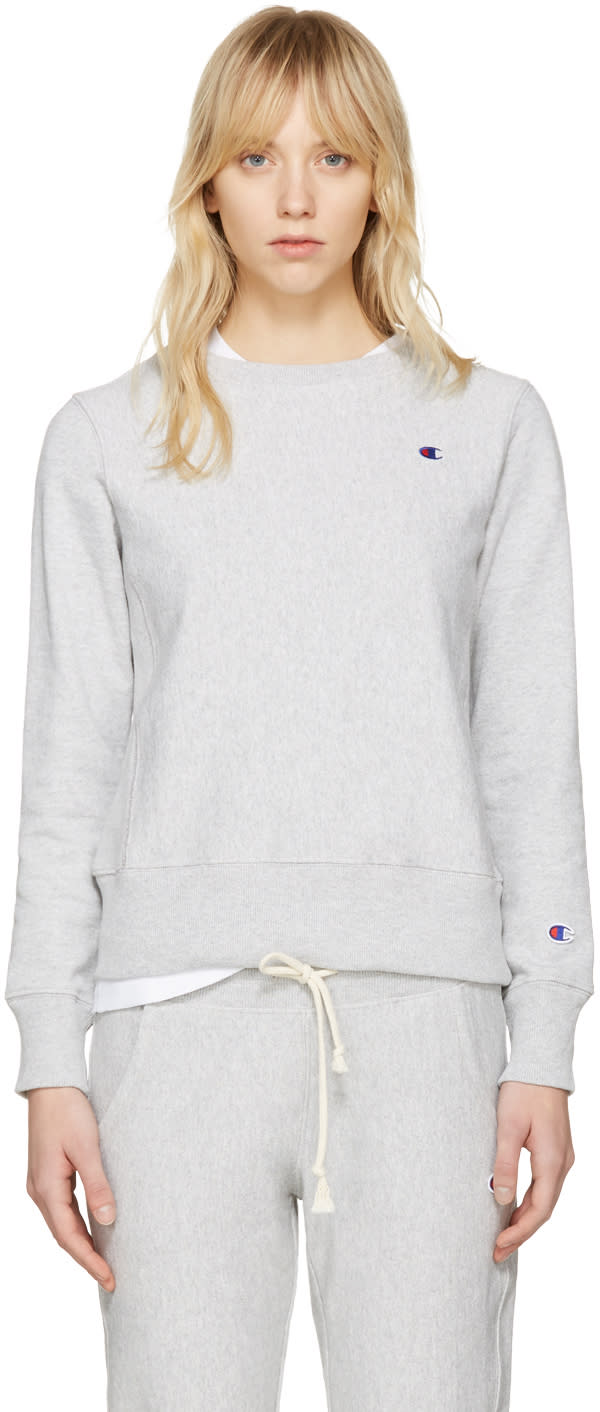 Champion Reverse Weave Grey Logo Patch Pullover