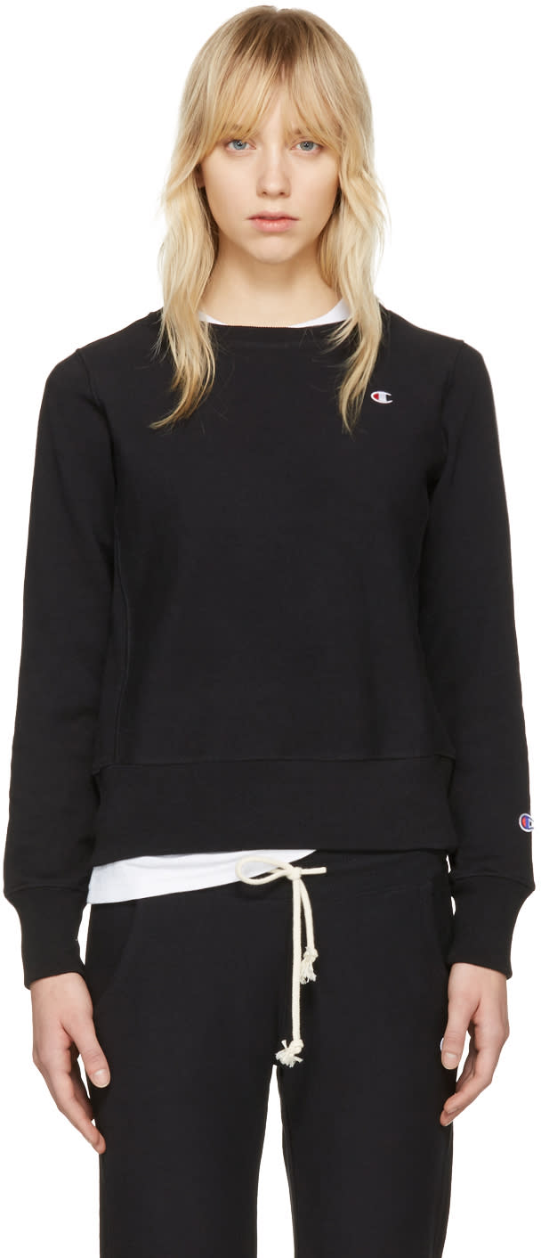Champion Reverse Weave Black Logo Patch Pullover