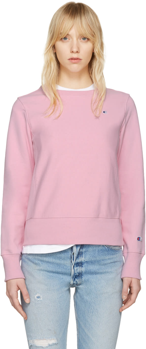 Champion Reverse Weave Pink Logo Patch Pullover