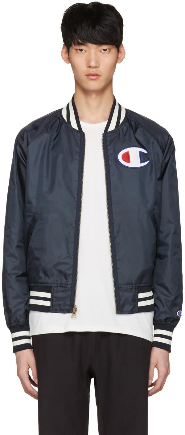Champion Reverse Weave Reversible Navy Logo Bomber Jacket