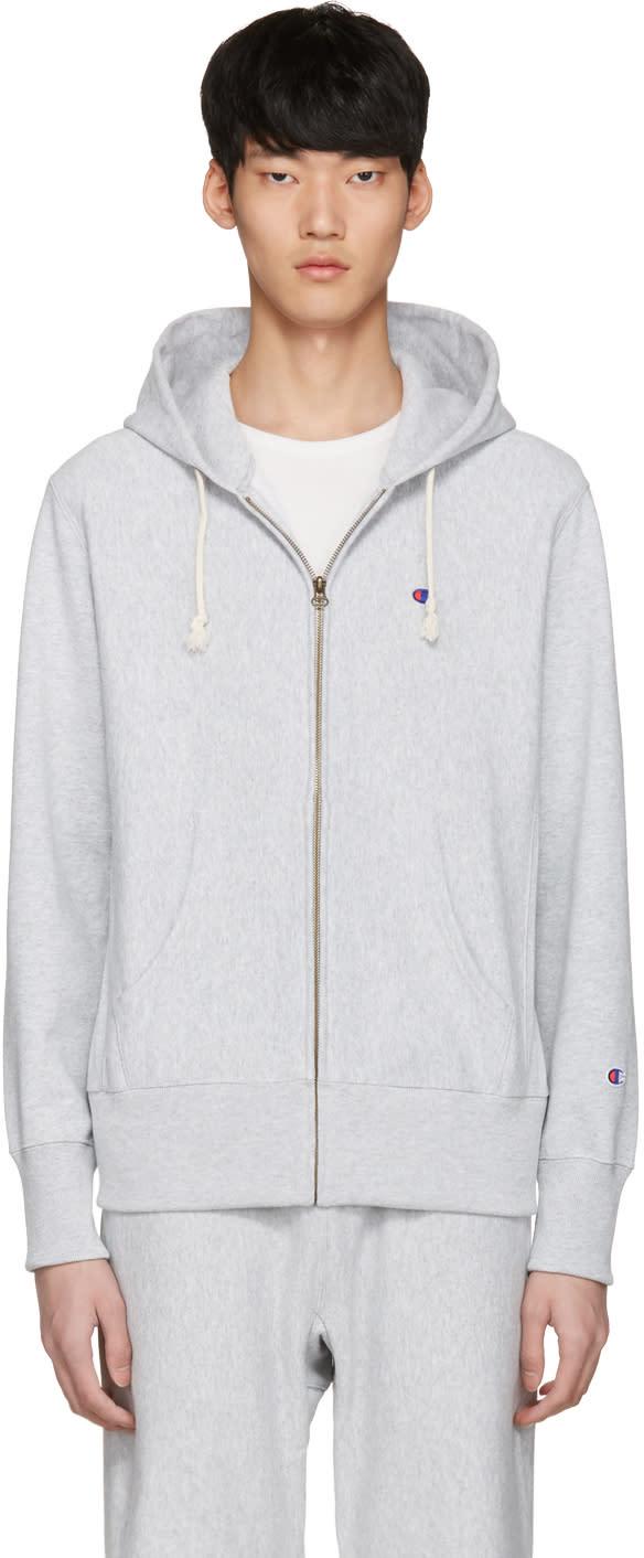 Champion Reverse Weave Grey Logo Zip Hoodie