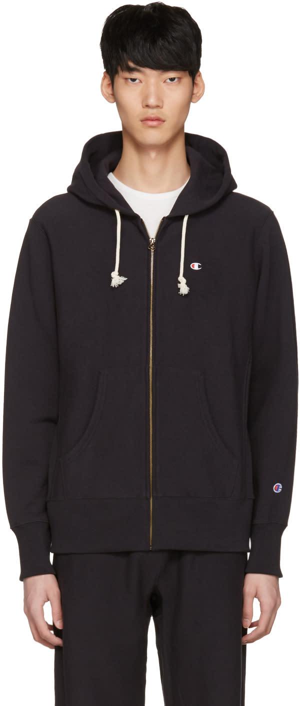 Champion Reverse Weave Black Logo Zip Hoodie
