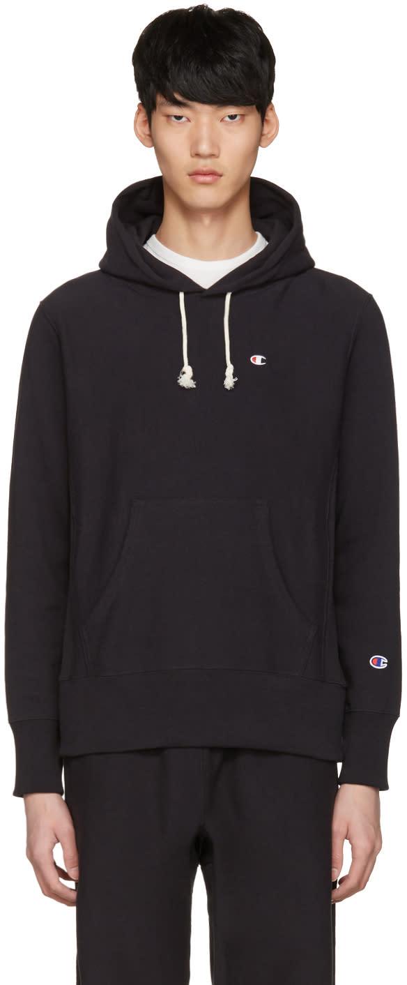 Champion Reverse Weave Black Logo Patch Hoodie