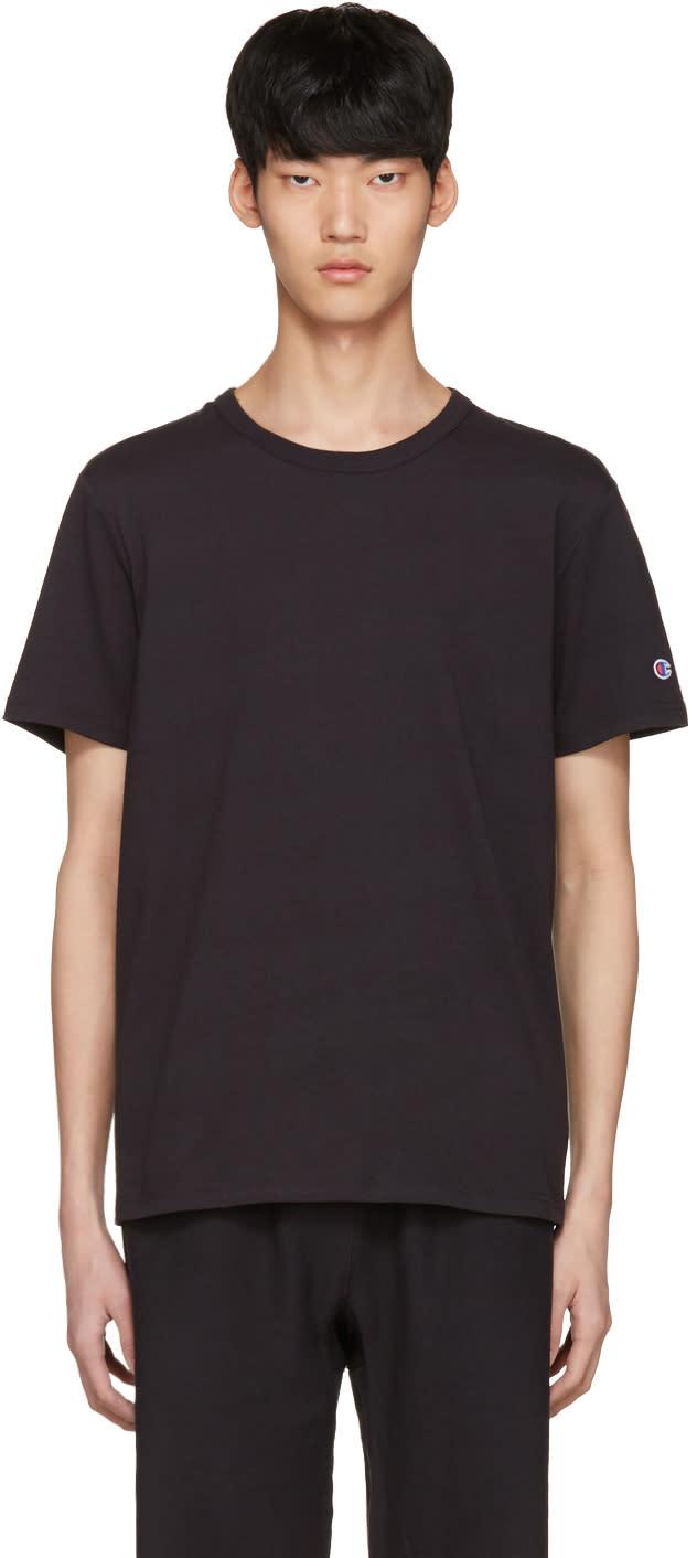 Champion Reverse Weave Black Logo T-shirt