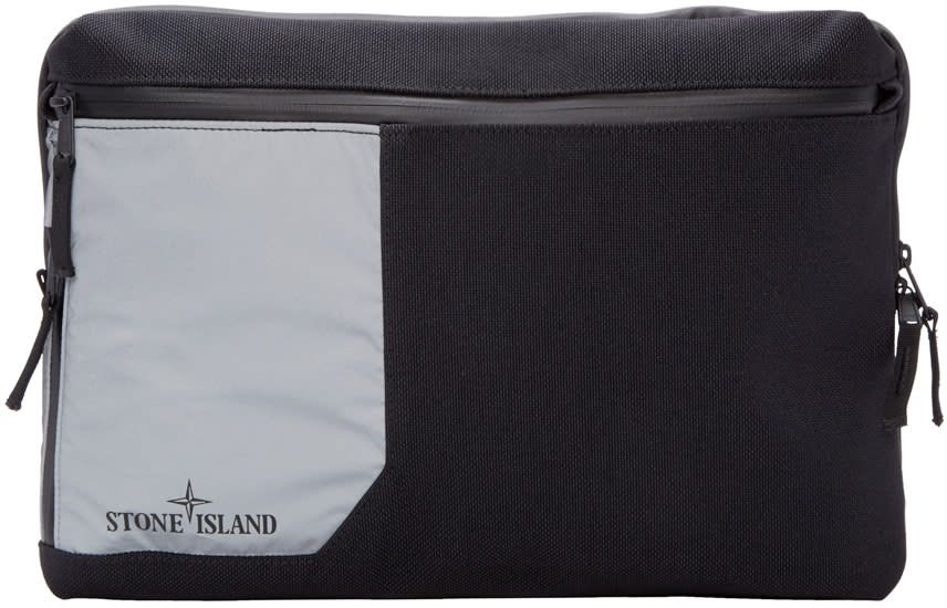 Stone Island Black Large Canvas Zip Pouch