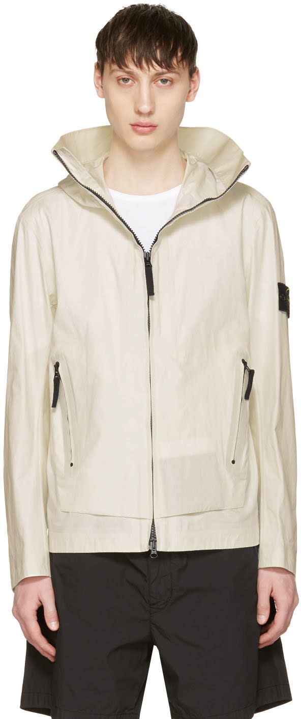 Stone Island White Zip Pockets Jacket