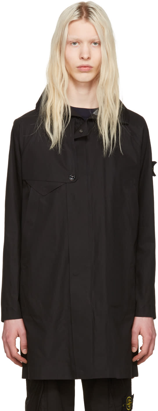 Stone Island Black Zip-up Coat