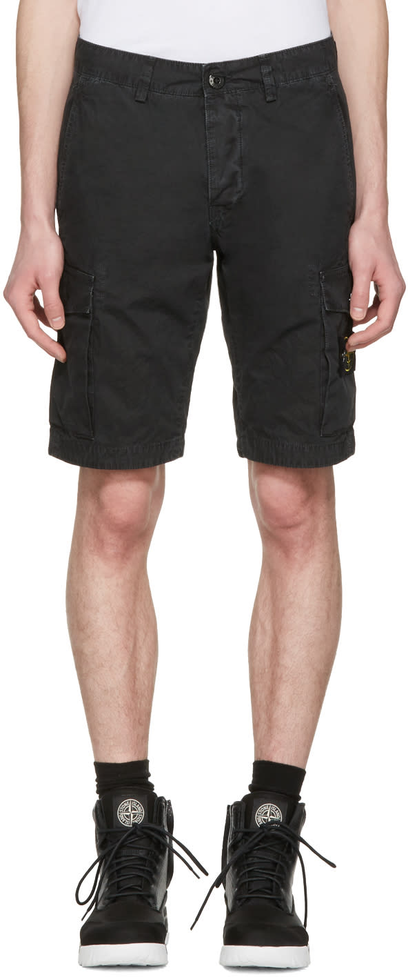 Stone Island Black Leg Patch Cargo Shorts
