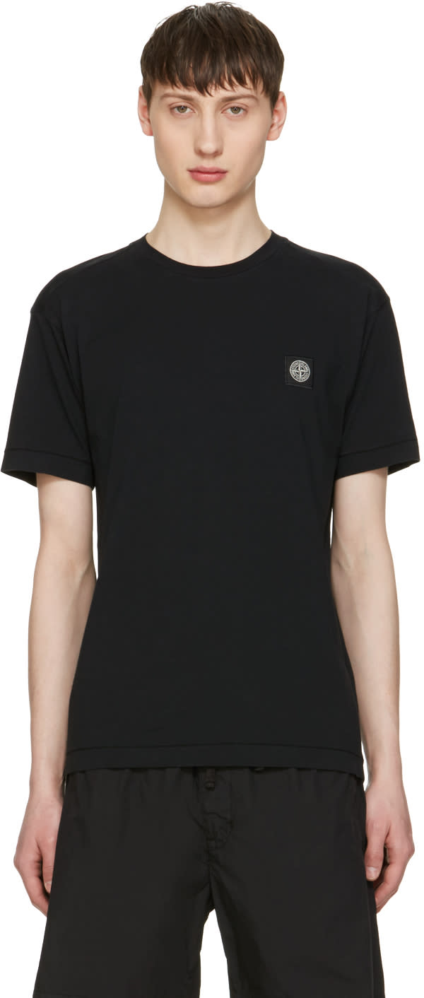 Stone Island Black Embroidered Logo T-shirt