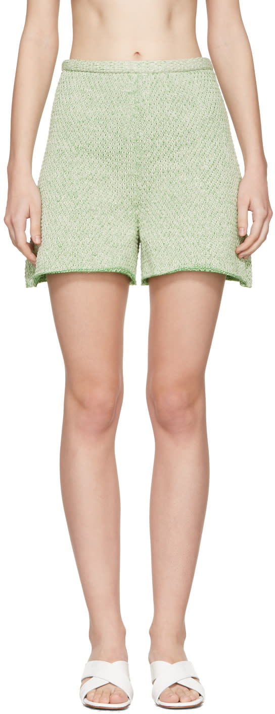Image of Eckhaus Latta Green Knit Shorts