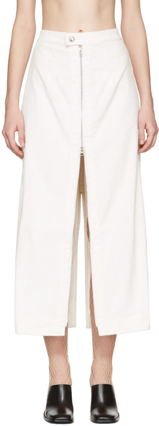 Eckhaus Latta Ivory Corduroy Zip Skirt