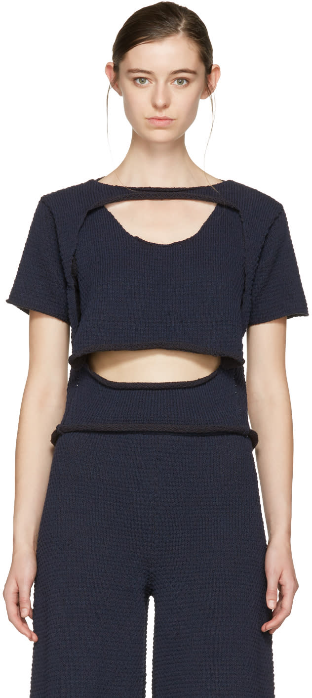 Eckhaus Latta Navy Knit Open Top