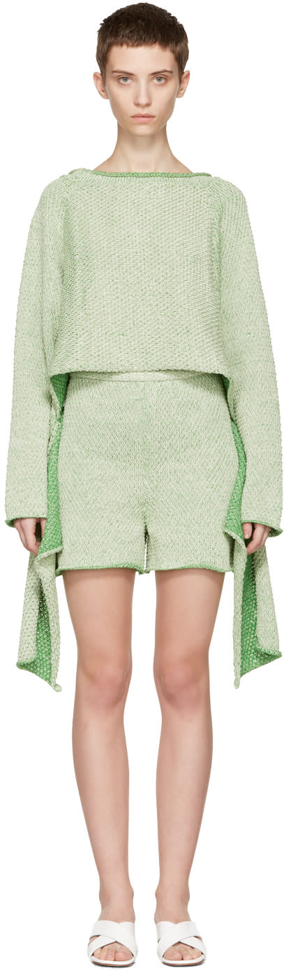 Eckhaus Latta Green Tie Back Sweater