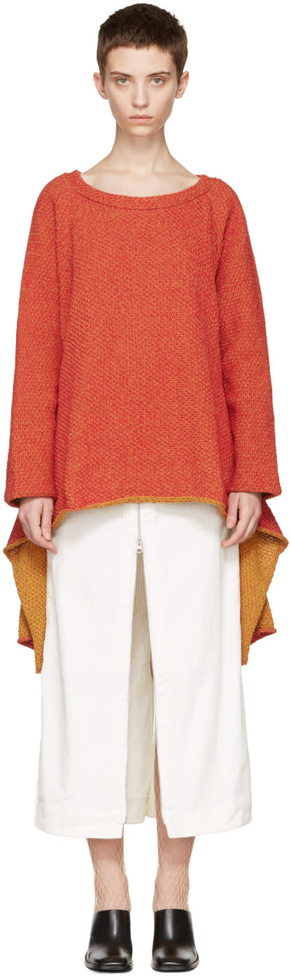 Eckhaus Latta Red Tie Back Sweater
