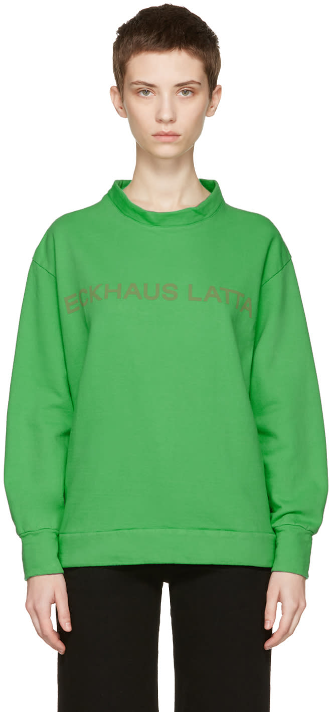 Image of Eckhaus Latta Green Logo Sweatshirt