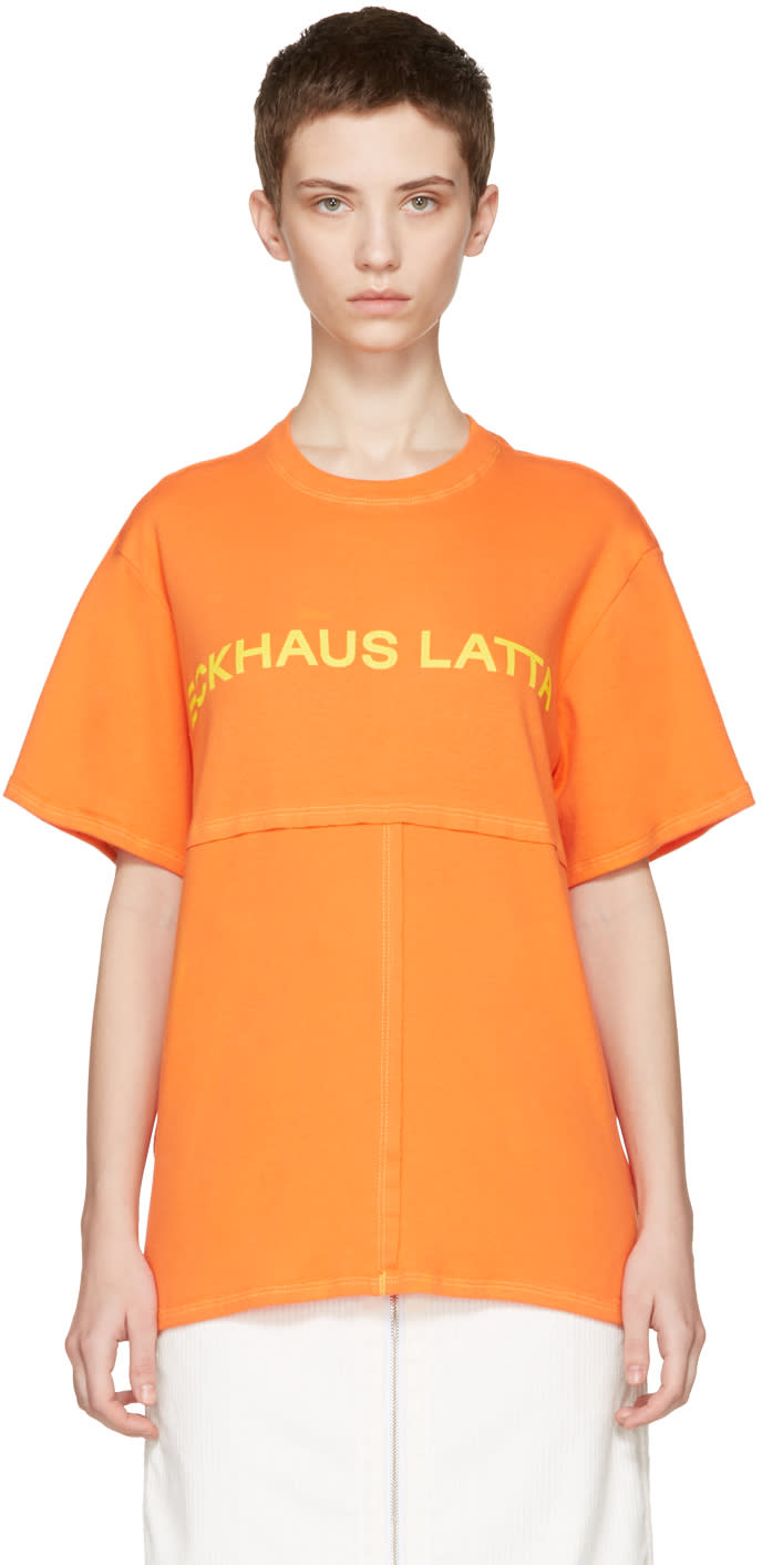 Eckhaus Latta Orange Lapped T-shirt