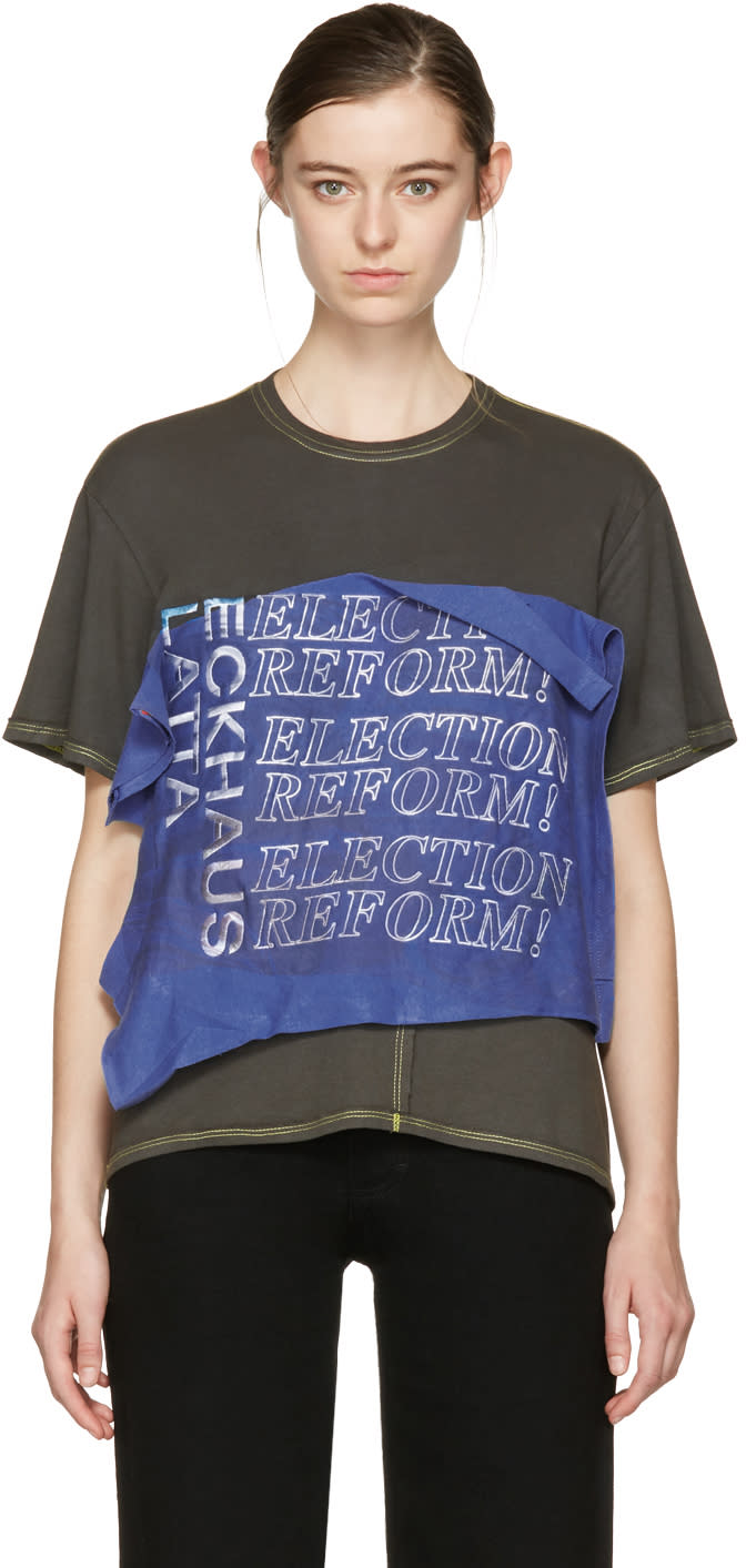 Image of Eckhaus Latta Blue and Green Reformation T-shirt