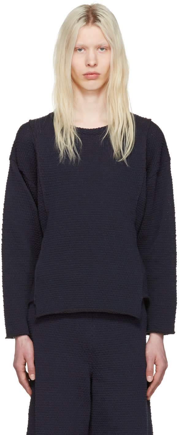 Eckhaus Latta Navy Panel Sweater