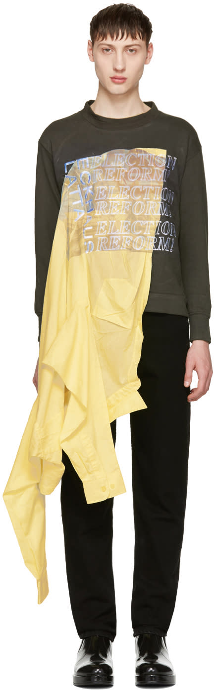 Eckhaus Latta Green and Yellow Election Reform Edition Sweatshirt