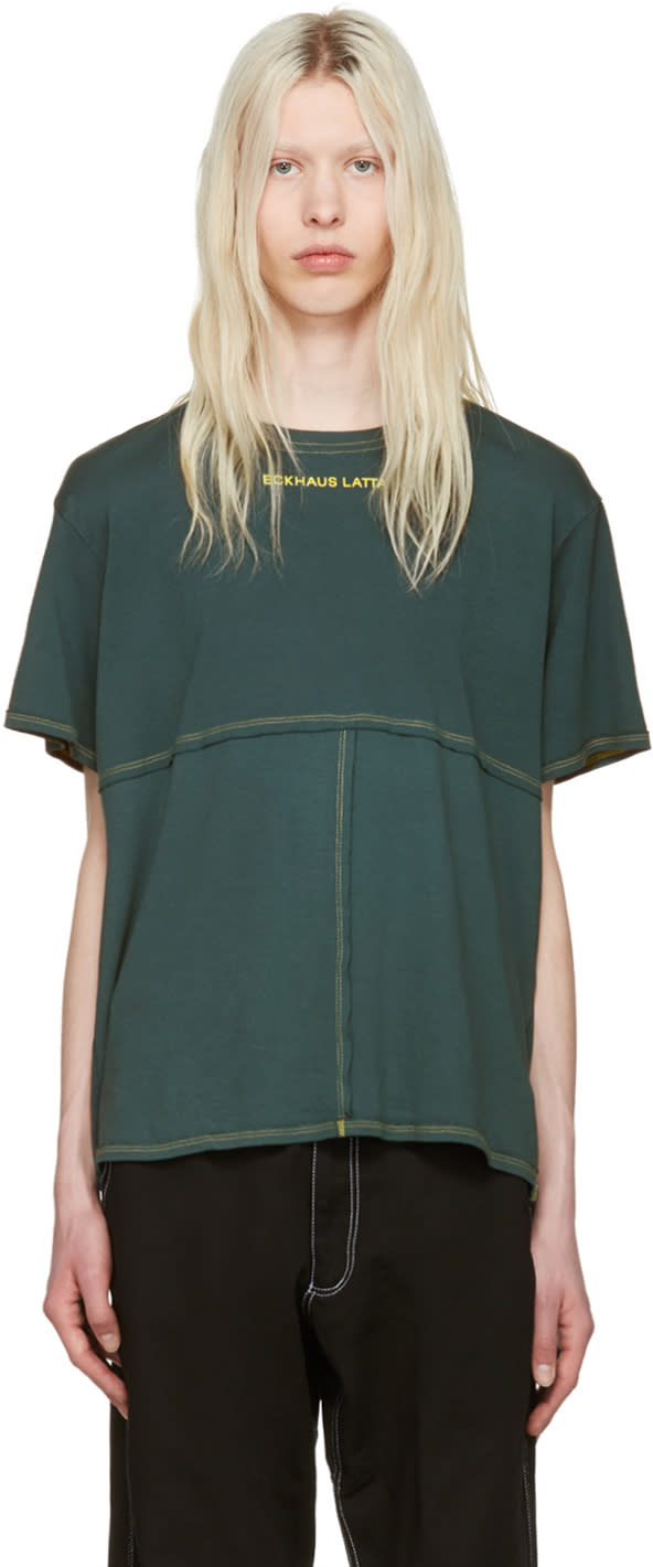 Image of Eckhaus Latta Green Lapped T-shirt
