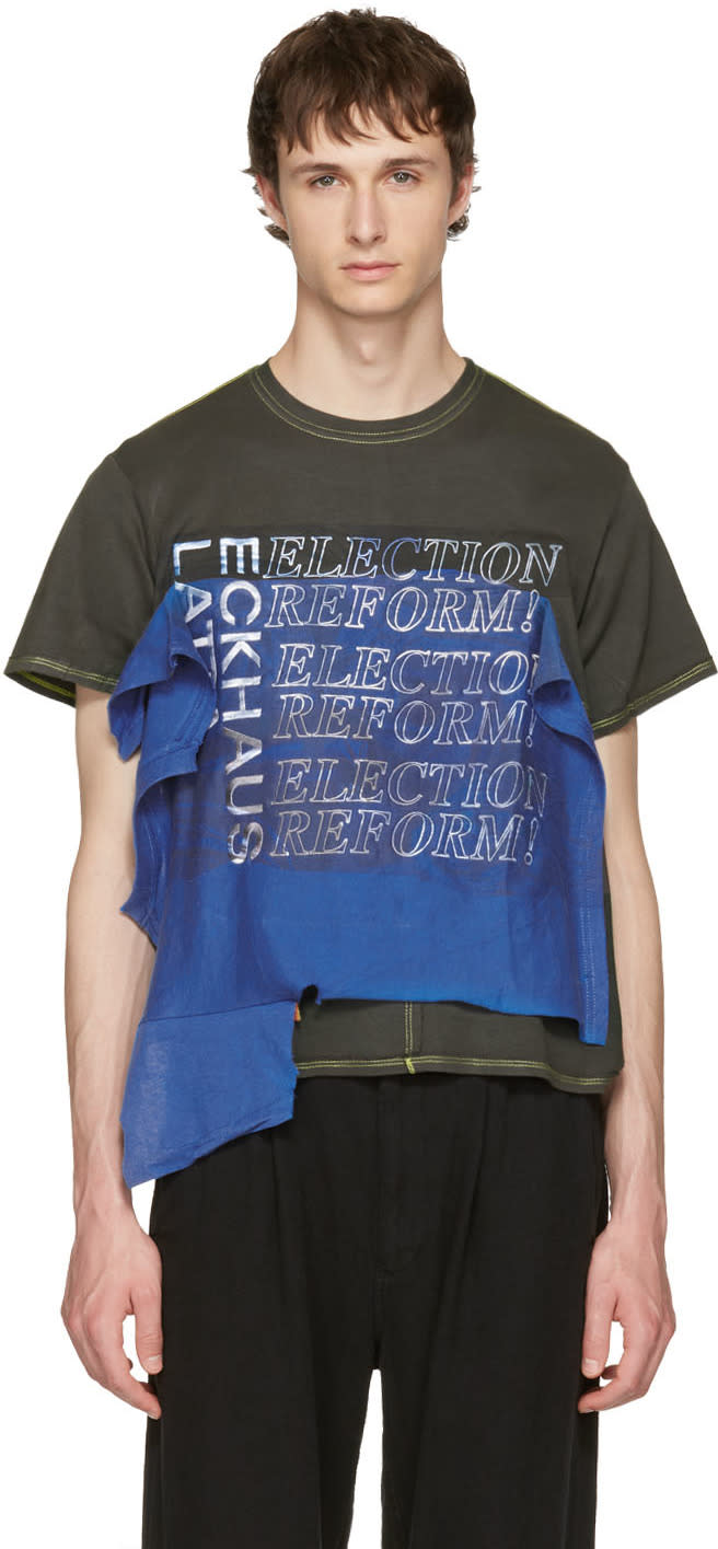 Eckhaus Latta Blue and Green Election Reform Edition T-shirt