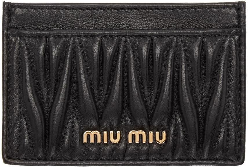 Miu Miu Black Matelasse Cardholder