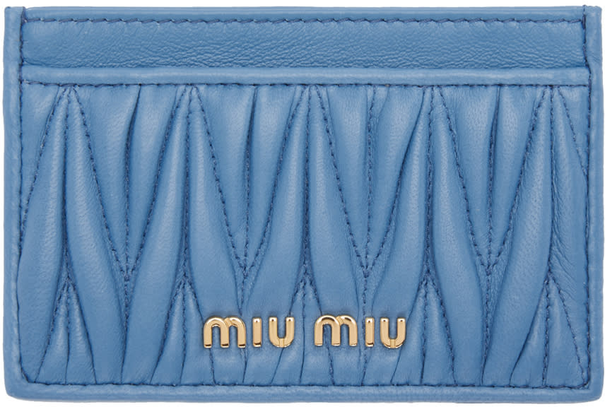 Miu Miu Blue Matelasse Card Holder