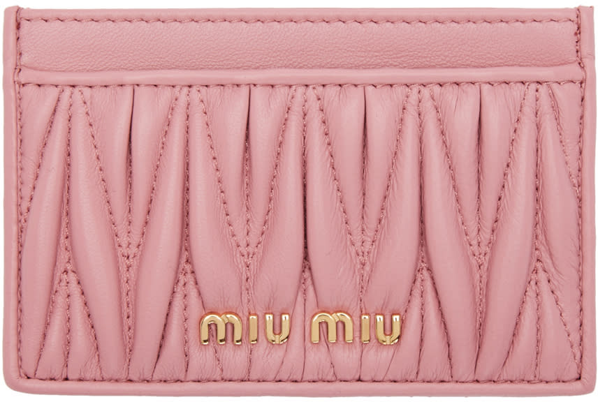 Miu Miu Pink Matelasse Card Holder